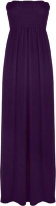 GirlzWalk Women's Ladies Plain Sheering Boob Tube Maxi Dress Soft Stretchy Long Dress (Purple XXXL 24-26)
