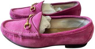 Gucci Brixton Pink Suede Flats