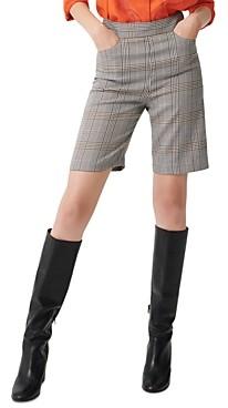 Maje Iline Plaid Bermuda Shorts