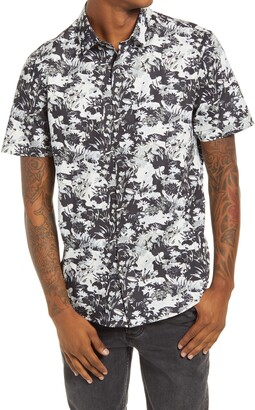 Topman Considered Floral Print Camouflage Short Sleeve Organic Cotton Button-Up Shirt