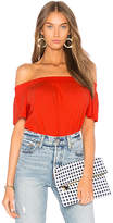 Bobi Light Weight Jersey Off the Shoulder Top in Red. - size L (also in M,S,XS)