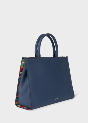 Women's Blue Leather Double-Zip Tote Bag With 'Swirl' Trim