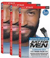 Just For Men Mustache & Beard Brush-In Color Gel, Jet Black (Pack of 3, Packaging May Vary)