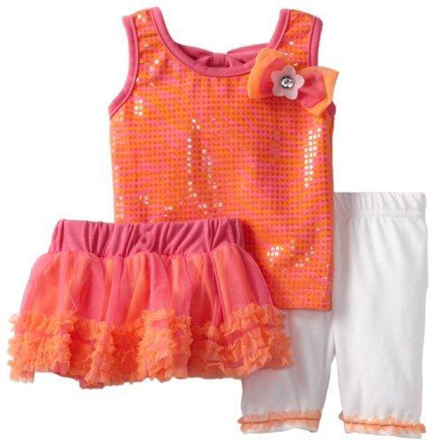 Little Lass Baby-Girls Infant 3 Piece Skirt Set with White Legging