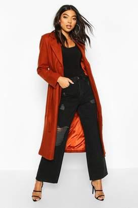 boohoo Tall Wool Belted Longline Coat