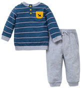 Little Me Baby Boys Striped Henley Shirt and Pants Set
