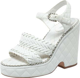 Chanel White Quilted Leather Chain Around Ankle Strap Platform Wedge Sandals Size 39.5