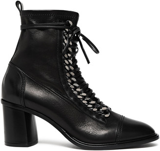 Casadei Chain-embellished Leather Sock Ankle Boots