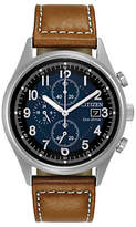 Citizen Ca0621-05l Chronograph Date Leather Strap Watch, Tan/midnight