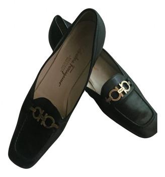 Salvatore Ferragamo Black Fur Flats