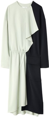 Tibi Drape Twill Colorblock Midi Dress