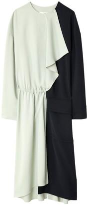 Tibi Drape Twill Colorblock Midi Dress