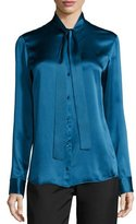 The Row Tipet Silk Tie-Neck Blouse, Marine Blue