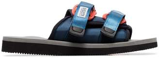 Suicoke blue, red and grey moto sandals