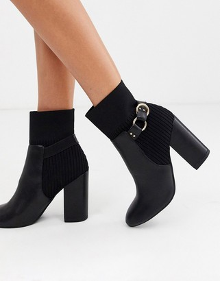Miss Selfridge heeled boots with ring detail in black