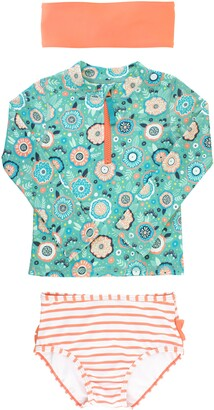 RuffleButts Island Dream Two-Piece Rashguard Swimsuit & Head Wrap Set