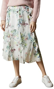 Ted Baker Lurissa Pergola Print Ruffled Midi Skirt