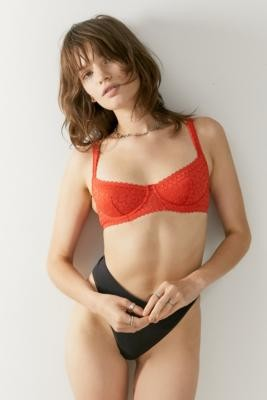 Out From Under Daisy Lace Balconette Bra - Orange 32C at Urban Outfitters