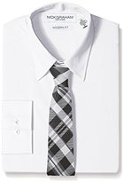 Nick Graham Everywhere Men's Men's White Solid Dress Shirt with Two Ties
