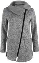 Mupoduvos Women Winter Wram Jecket Outwear Wool Coat With Zipper Plus Size XXL