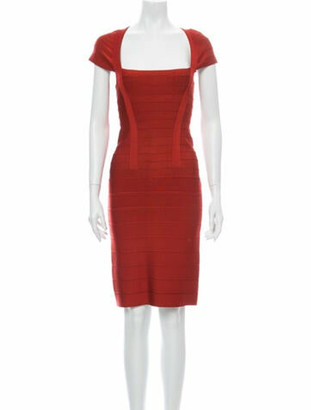 Herve Leger Square Neckline Knee-Length Dress Orange