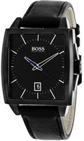 HUGO BOSS Modern Square 1513226 Men's Black Leather and Stainless Steel Watch
