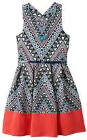 Knitworks Girls 7-16 Printed Bow Back Belted Skater Dress with Necklace