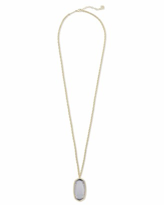 Kendra Scott Rae Long Pendant Necklace for Women Fashion Jewelry 14k Gold-Plated Slate Cats Eye