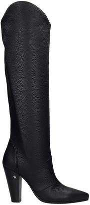 Golden Goose Michelle High Texan Boots In Black Leather