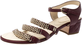 Chanel Burgundy Leather Chain Ankle Strap Block Heel Sandals Size 41.5