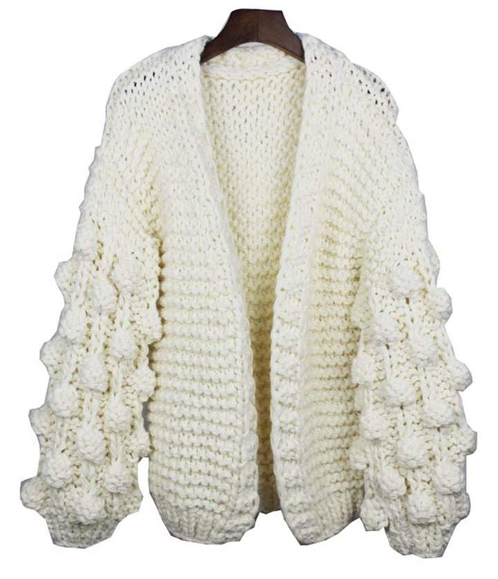1c65646623f MissBloom Women Open Front Solid Cable Knit Lantern Sleeve Chunky Sweater  Cardigan