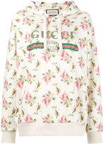 Gucci Rose print fake logo hoodie
