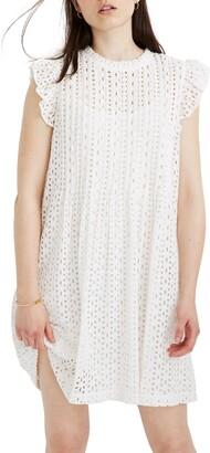 Madewell Eyelet Ruffle Sleeve Pintuck Minidress