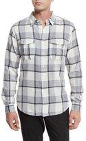 Billy Reid Plaid Flannel Woven Shirt, Gray Pattern