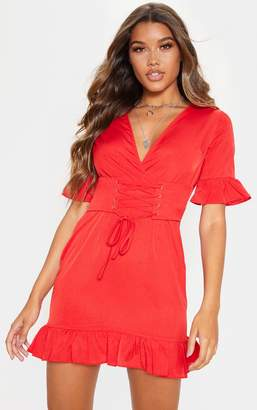 PrettyLittleThing Red Corset Swing Dress