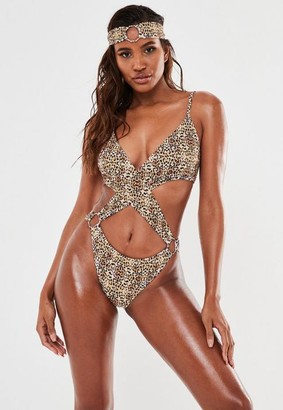 Missguided Leopard High Leg Cut Out Swimsuit And Headband Set