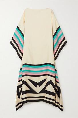 LOUISA PARRIS Net Sustain Eliza Printed Silk-twill Maxi Dress - Cream