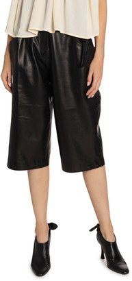 Proenza Schouler Leather High-Waist Belted Shorts
