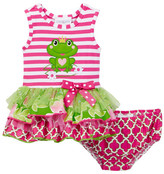 Iris & Ivy Frog Drop Waist Dress & Bloomer Set (Baby Girls)