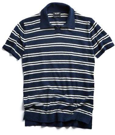 Todd Snyder Striped Boucle Polo in Navy
