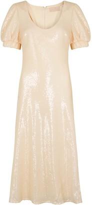 Keepsake Farewell cream sequin midi dress