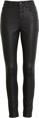 Blank NYC Button Front Faux Leather Skinny Jeans