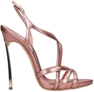 Casadei Sandals In Rose-pink Leather