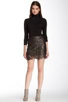 Tov Metallic Scalloped Hem Lace Mini Skirt