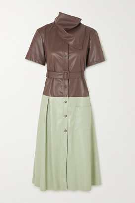 ANDERSSON BELL Emma Belted Two-tone Faux Leather Midi Dress - Brown
