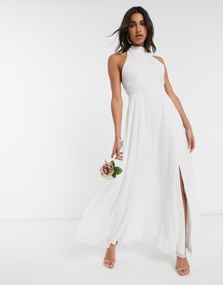 Frock and Frill high neck beaded bridal dress in white