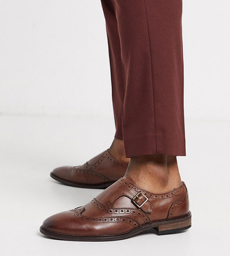 ASOS DESIGN Wide Fit monk shoes in brown leather with brogue detail
