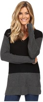 Vince Camuto Long Sleeve V-Neck Waffle-Stitch Color Block Sweater