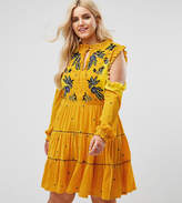 Frock And Frill Plus Cold Shoulder Velvet Smock Dress With Floral Embroidery