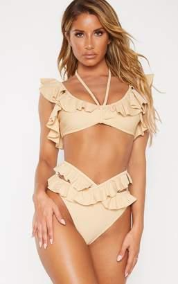 PrettyLittleThing Nude Cross Front Frill Bikini Bottom